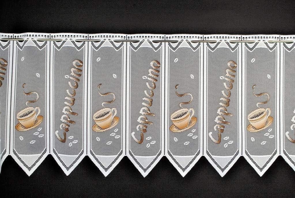 Rideaux Cuisine Rideaux Brise-bise Cappuccino 45 cm de Haut Vous Pouvez Choisir la Largeur des Rideaux par paliers de 23 cm Colour: Blanc