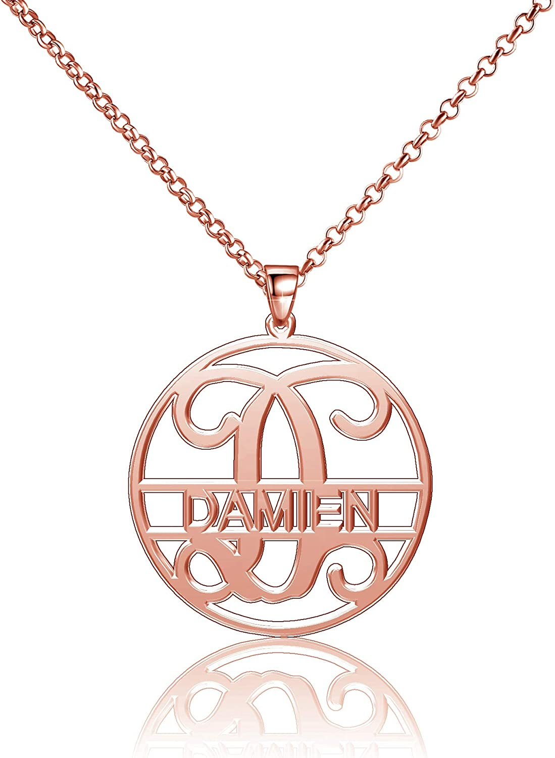 Moonlight Collections 25mm Damien Name Necklace Sterling Silver Name Necklace Personalized Jewelry 14-18 Chain Rose Gold Plated