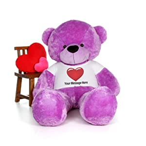 Giant Teddy Personalized Life Size 6 Foot Bear Cuddles with Red Heart T-Shirt (Lavender Purple) (Color: Lavender Purple, Tamaño: 6 Foot)