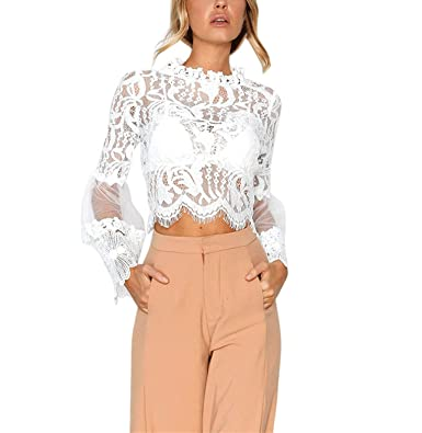 f4f736e34c6cf BSGSH Women s Elegant See-Through Lace Scallop Hem Blouse Shirt Tops Long  Bell Sleeve (
