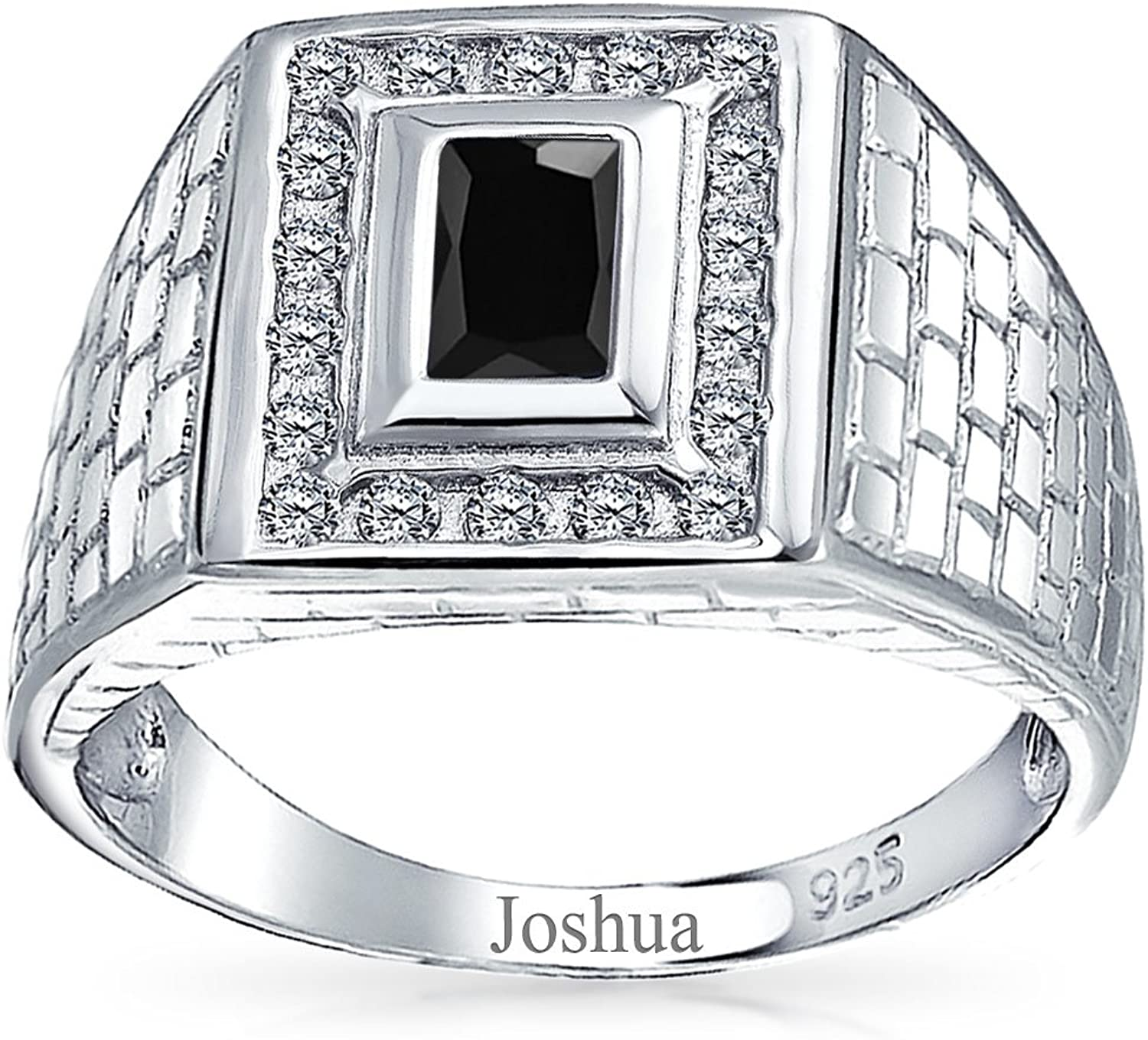 Stainless Steel Geometric Rectangle Cocktail Ring with Black Onyx