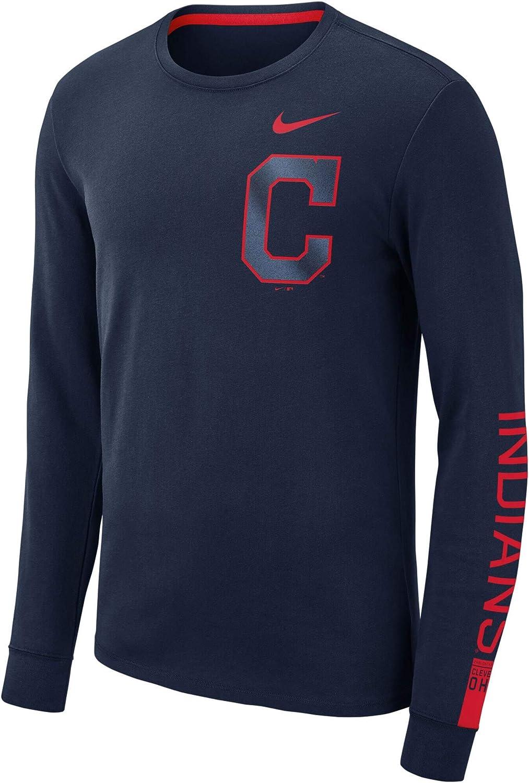 Nike Mens Cleveland Indians Navy Heavyweight Long Sleeve T-Shirt