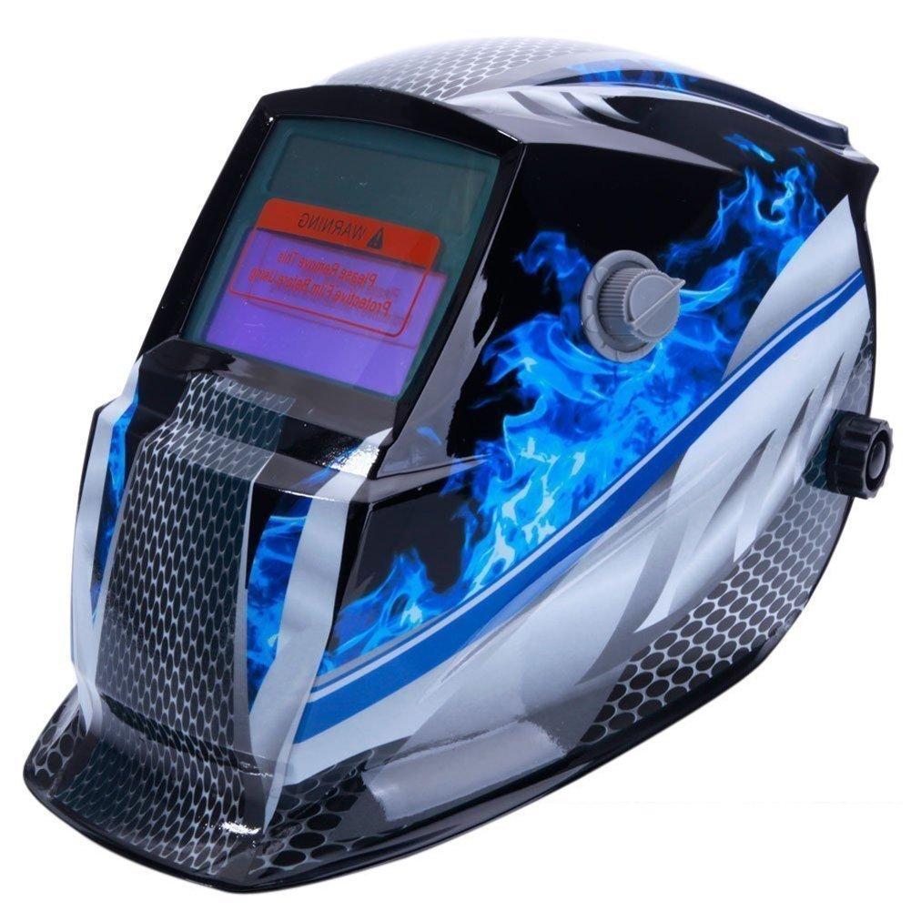 TOOGOO Welding Helmet Mask Solar Auto Darkening, Adjustable Shade Range DIN 9-13/Rest DIN 4, Welder Protective Gear ARC MIG TIG (Blue Racer)