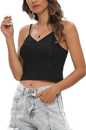 MessBebe Camiseta de Tirantes para Mujer sin Mangas Acanalado Algodón Elástico Estilo Casual Tops Adecuado Todas Las Temporadas: Amazon.es: Ropa y accesorios