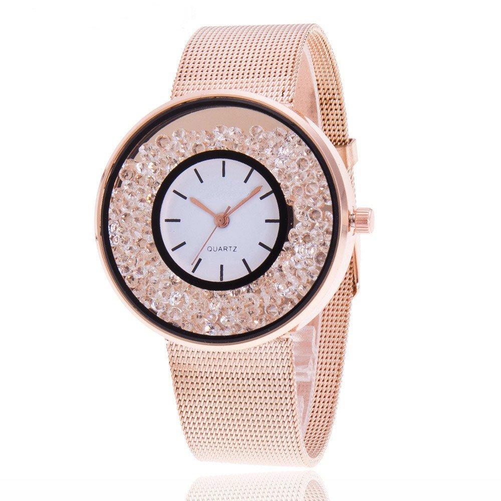 Fashion Women Beautiful Alloy Casual Watch,Outsta Luxury Fine Strap Analog Quartz Bracelet Watch Best Gift for Children Girl Gift Present (Rose Gold)