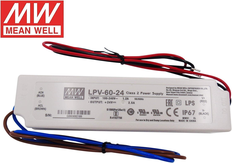 MeanWell Transformador o Fuente de Alimentacion LPV-60-24V 60W 24V Impermeable IP67 AC/DC Externo