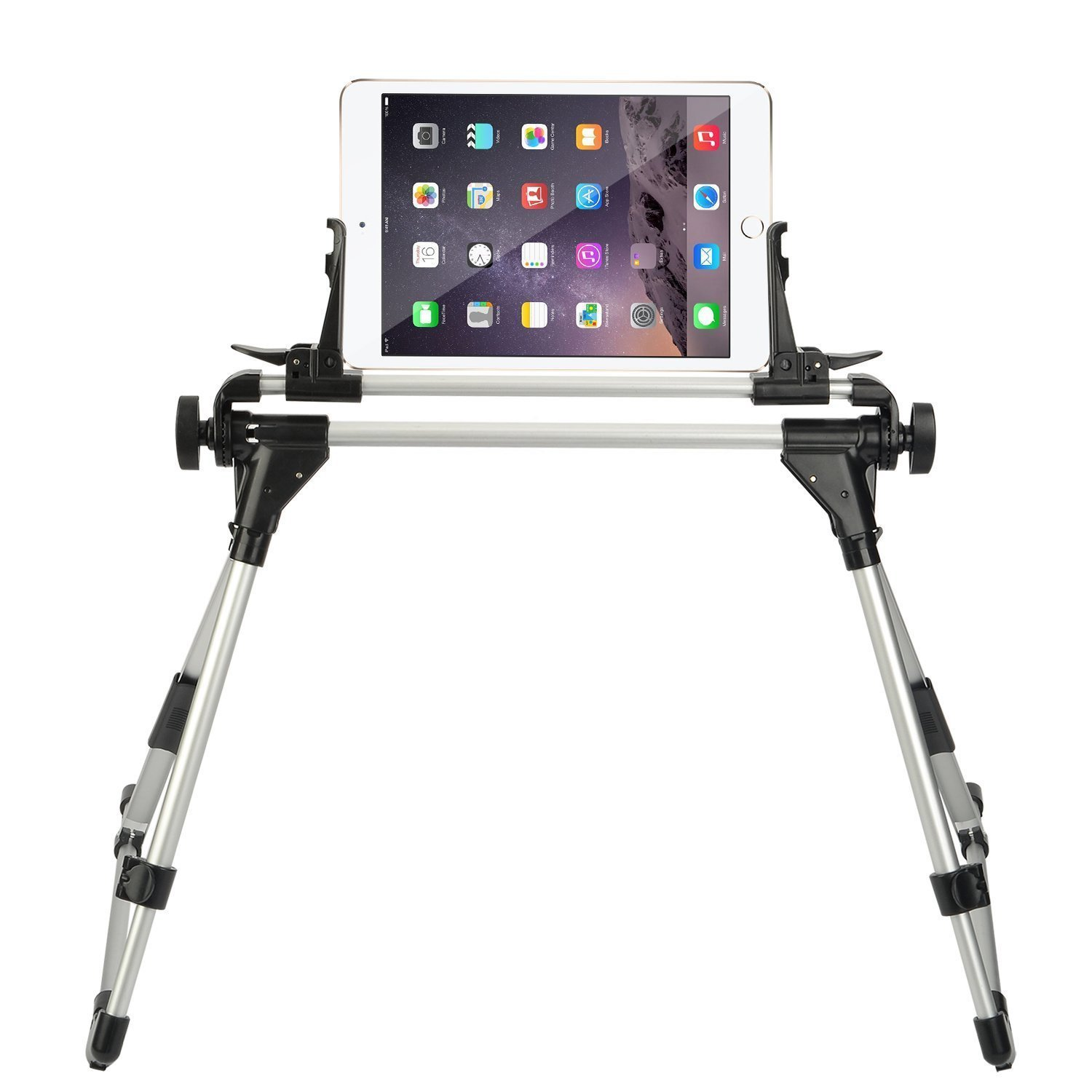 StillCool Universal Tablet Bed Ipad Stand Holder Frame Intersection Angle Easy Adjustment for iPad iPhone Samsung Galaxy Tab (Silver&Black)