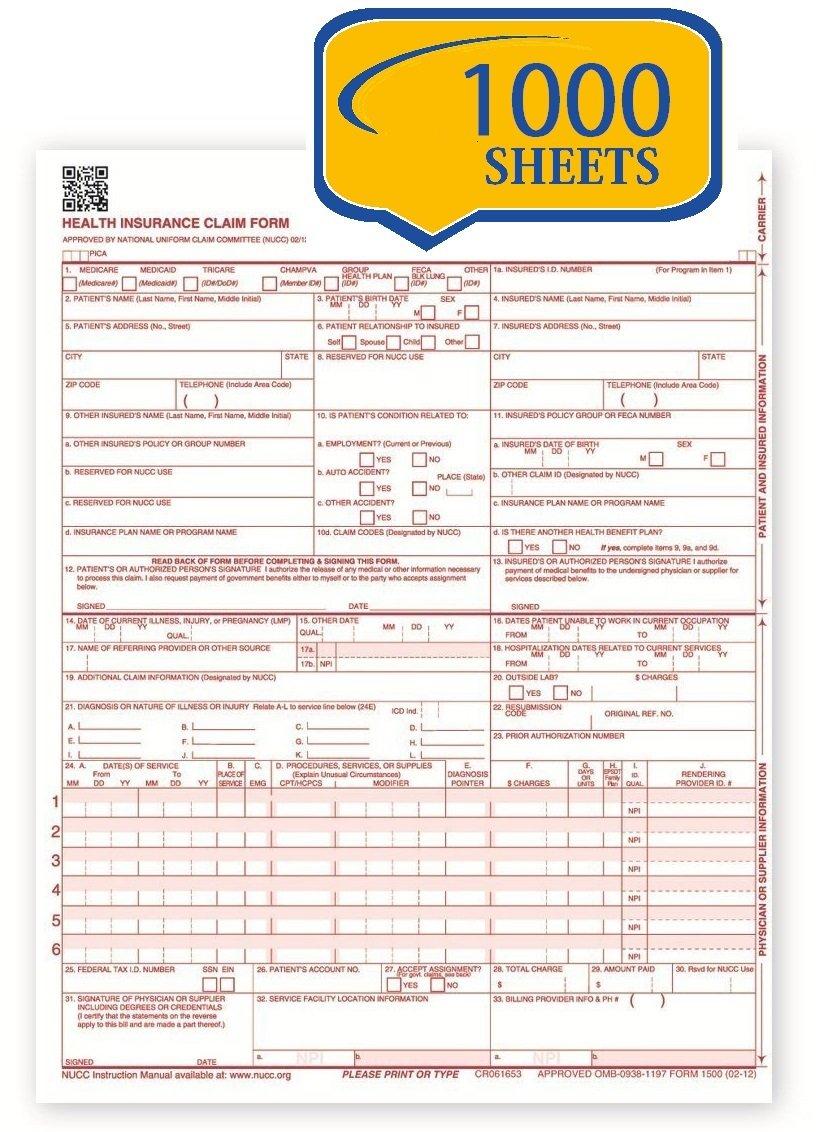 CMS 1500 Claim Forms - HCFA (Version 02/12) (1000 Sheets; Laser/Inkjet Printer) by Compuchecks