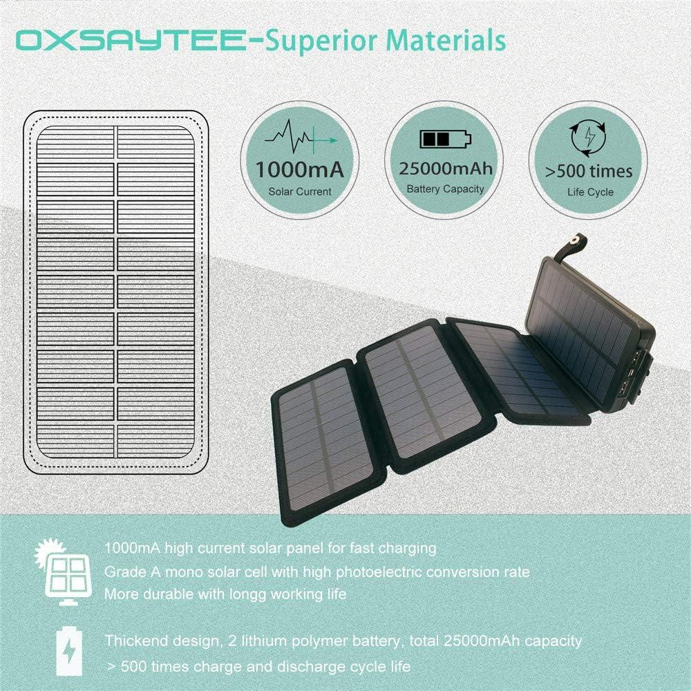 Oxsaytee Batterie Externe 25000mAh Power Bank Solaire