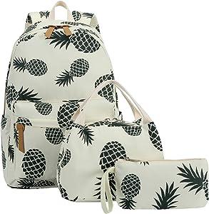 Bookbag School Backpack Girls Cute Schoolbag for 15 inch Laptop backpack set (Beige A002 Green pineapple)