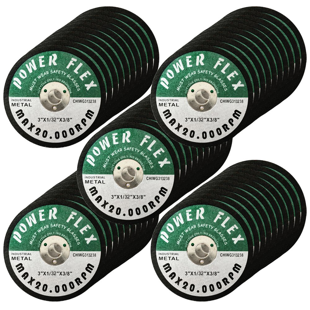 50 Pack - CUT OFF WHEELS 3'' x 3/8'' For Cutting All Steel and Ferrous Metals.