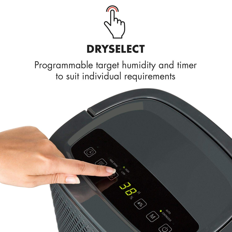 Klarstein DryFy10 Deshumidificador de Aire • Secador reformas • 240 W • 10 L/día • Espacio Ideal: 15-20 m² (50 m³) • Filtro Nylon • Modo silencioso • Gris: ...