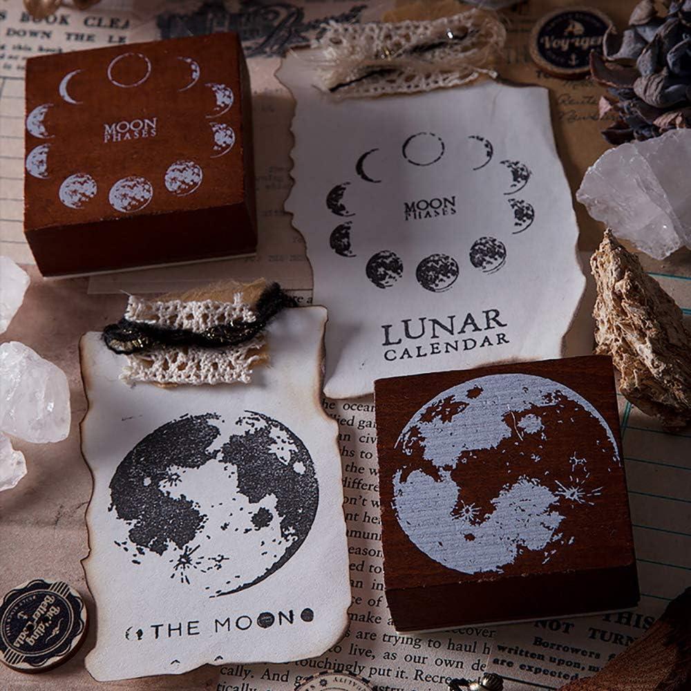 Doraking Perpetual Calendar Seal Doraking Creative Vintage Wooden Rubber Moon Phase Stamp for Scrapbooking DIY Printing Letter Decoration