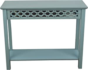 Décor Therapy Mirrored Console Table, Antique Iced Blue