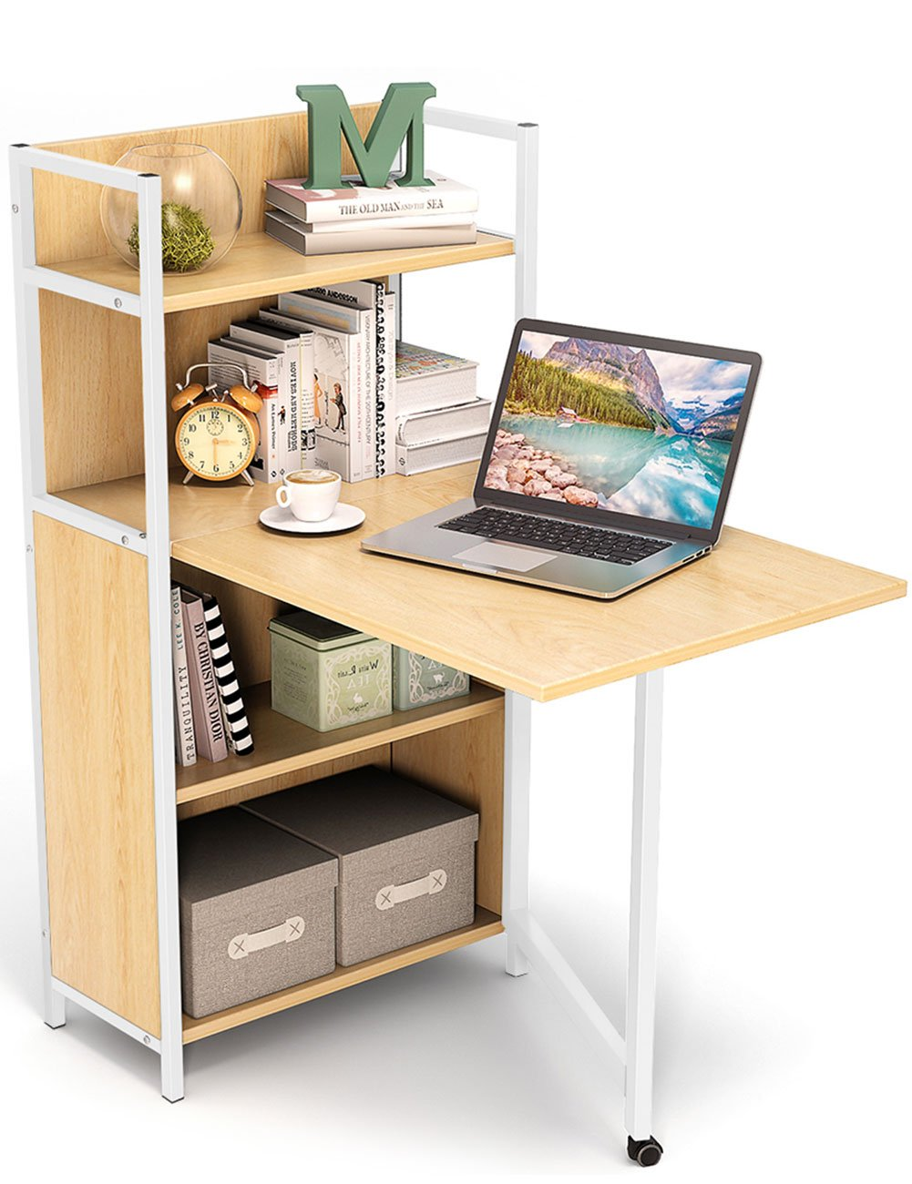 Amazoncom Tribesigns Small Folding Computer Desk With Bookshelves