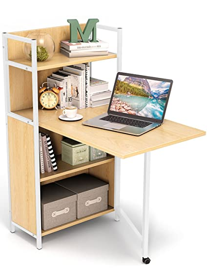 Tribesigns Folding Computer Desk With Bookshelves PC Laptop Study Table Writing Storage Shelves