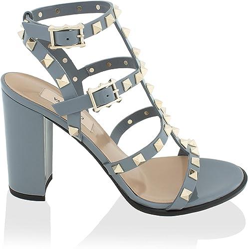 Rockstud Block-Heel Leather Sandal