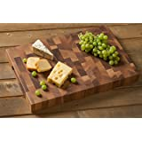 Gourmet Chopping Boards, Firenze End-Grain Board with Finger Grooves, Rectangular in Walnut Wood (17.7 x 11.8 x 1.7 in.)