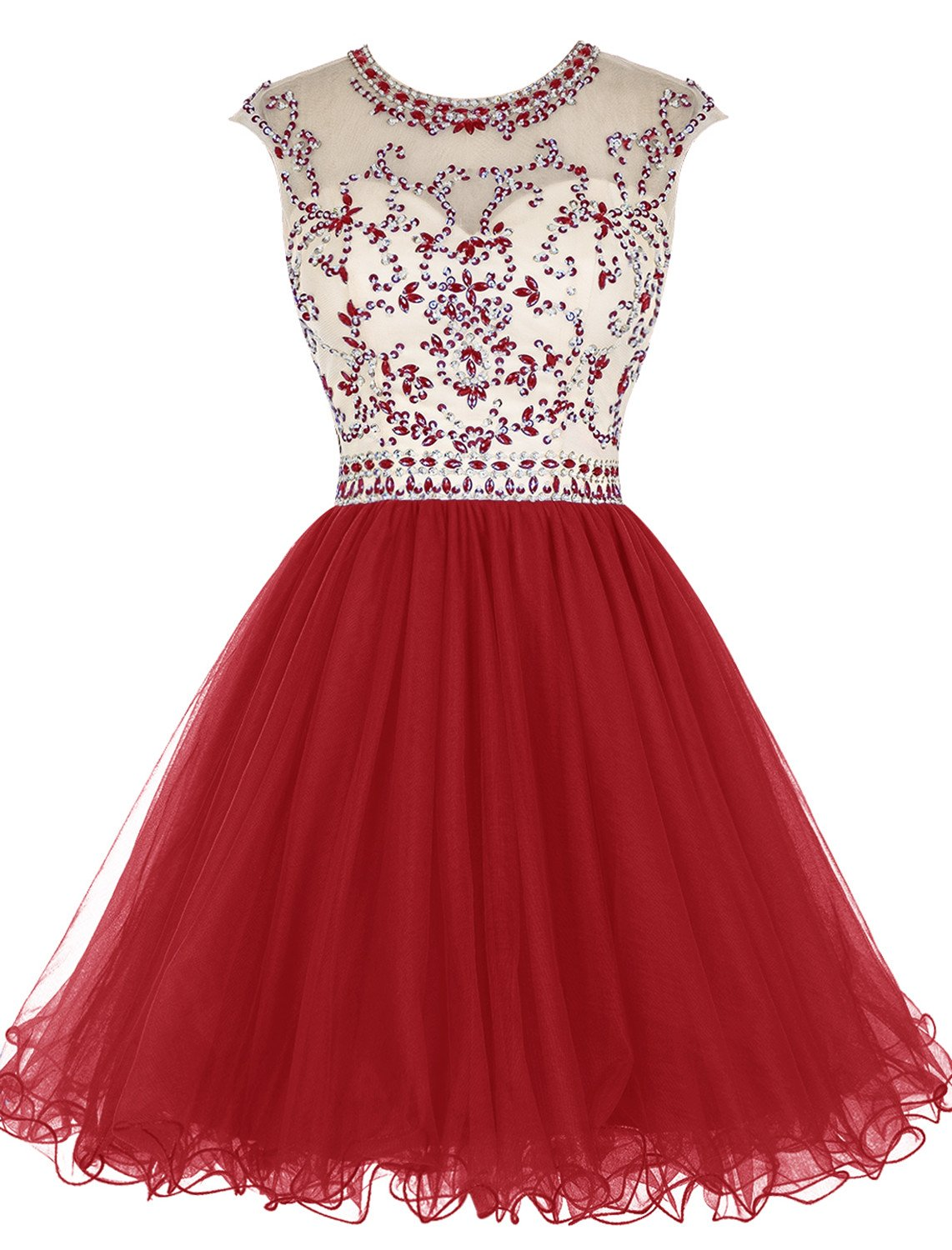 ALAGIRLS Beaded Prom Dress Short Tulle Homecoming Dress Hollow Back Red US22Plus