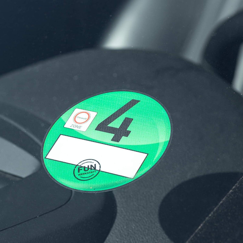 Treuekarten Haftfolie Euro 4 Plakette gr/ün Umweltplakette Feinstaubplakette Spassplakette