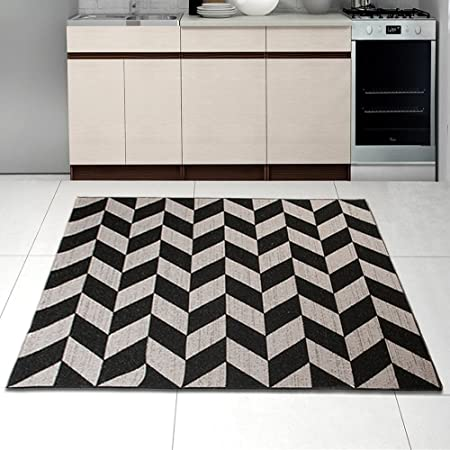 Sisal Rug Black Silver Modern Geometric Zig Zag Living Room Dininng Room  Kitchen Very Durable Oeko