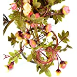 Outtop 86.5 inch Artificial Rattan Vine Flowers Real Touch Fake Garland Flower for Home and Wedding Decoration (Yellow)