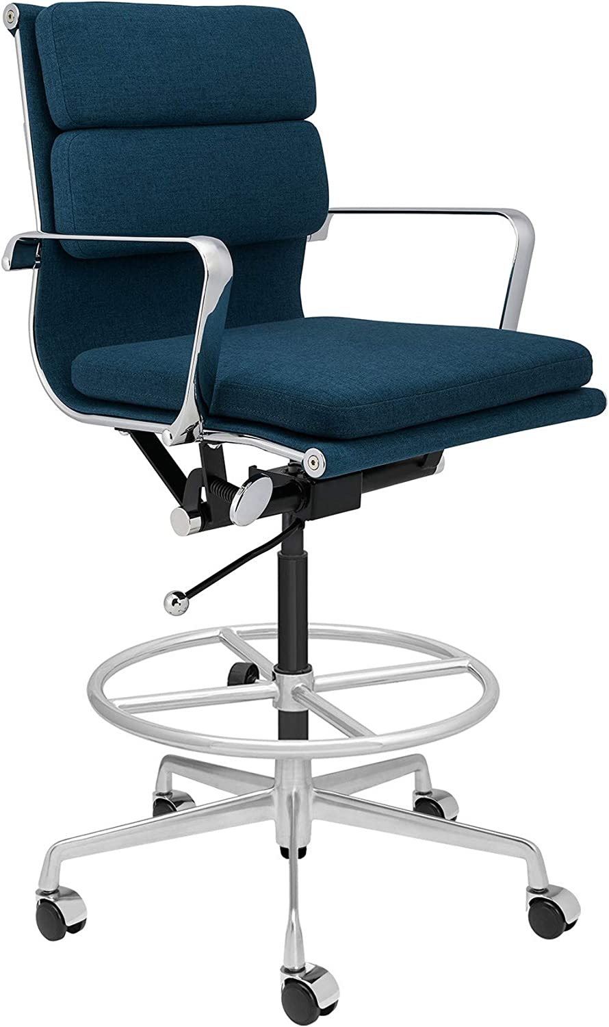 SOHO Soft Pad Drafting Chair - Ergonomically Designed and Commercial Grade Draft Height for Standing Desks (Dark Blue Fabric)