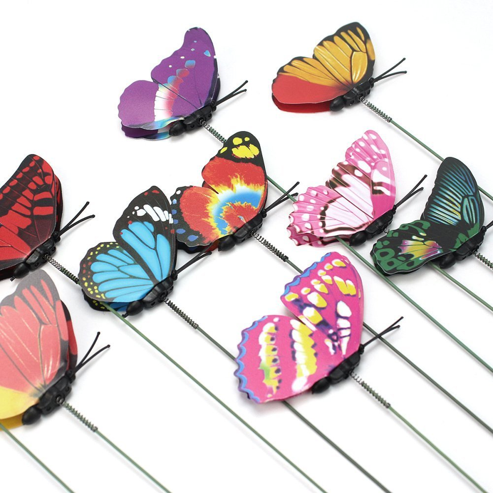 Homgaty 7cm 10Pcs Colourful Garden Butterflies On Sticks Plant Yard Decoration With Butterfly Bookmark Garden Décor