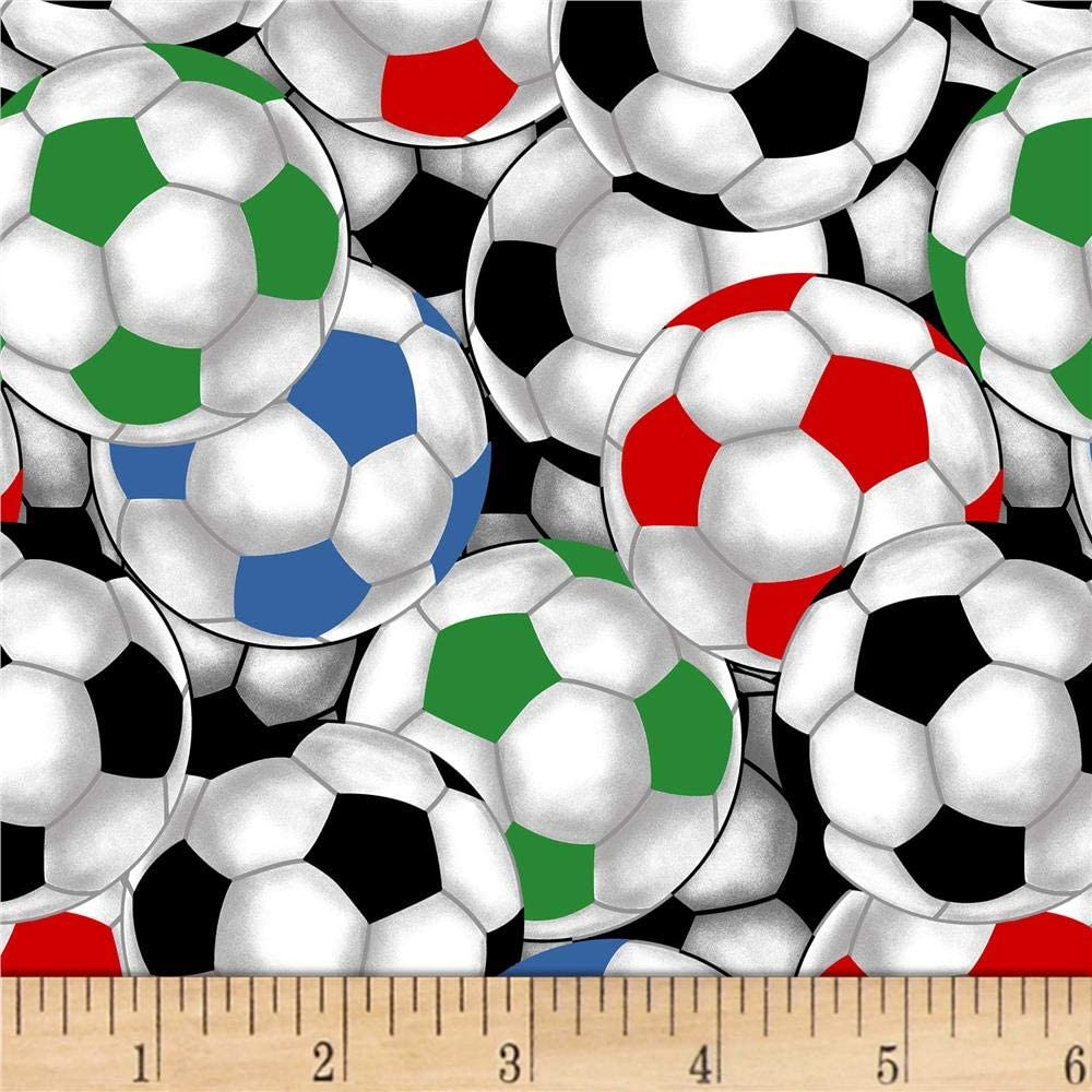Colorful Soccer Balls on Black Timeless Treasures YARD Sports Fabric
