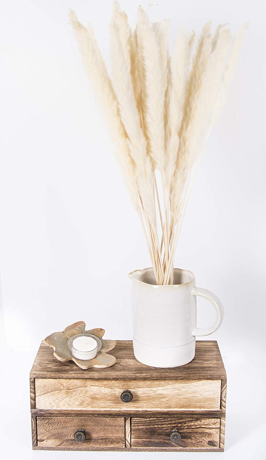 "Shanksie Dried Pampas Grass Decor - White Pampas Grass - 47cm(18"") - 20 Pieces - Perfect for Flower Arrangements, Home Decoration, Weddings or Parties (White)"