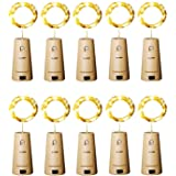 Aluan Wine Bottle Lights with Cork Christmas Lights 12 LED 10 Pack Fairy Lights Waterproof Battery Operated Cork String Light