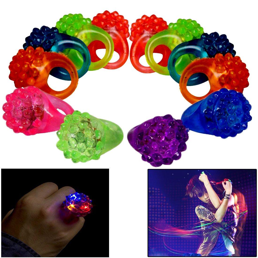 Dazzling Toys Light Up Rings | 24 Pack Flashing LED Light Up Toys, Bumpy Rings, 2 Dozen by Dazzling Toys