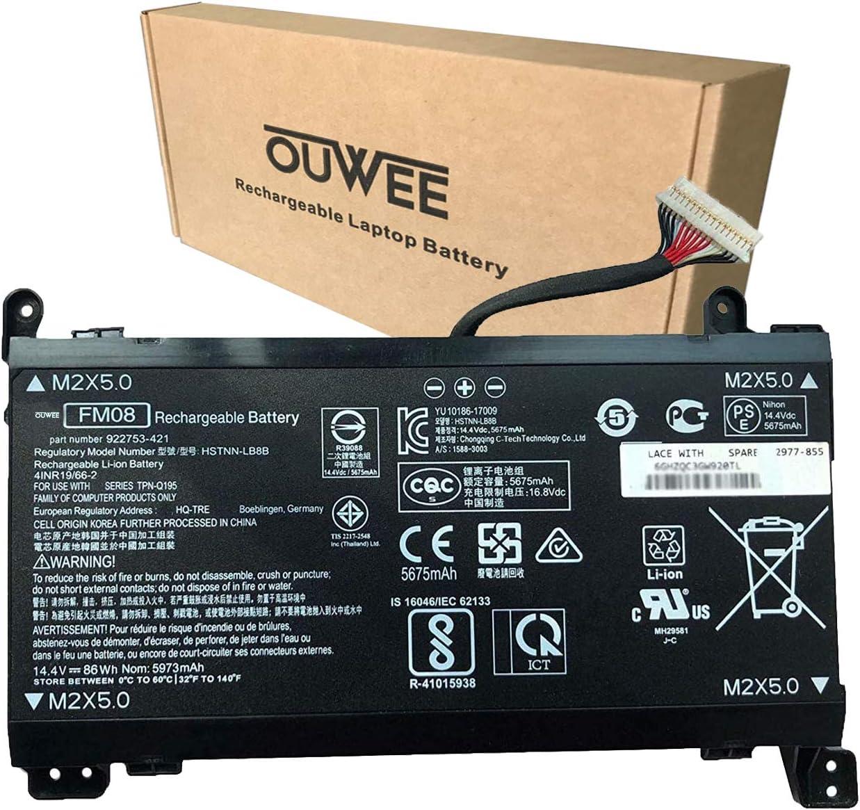 OUWEE FM08 Laptop Battery Compatible with HP Omen 17-AN013TX 17-AN014TX 17-AN014NG 17-an008ur Series Notebook TPN-Q195 922752-421 922753-421 922976-855 HSTNN-LB8B 14.4V 86Wh 5973mAh(16-Pin Connector)