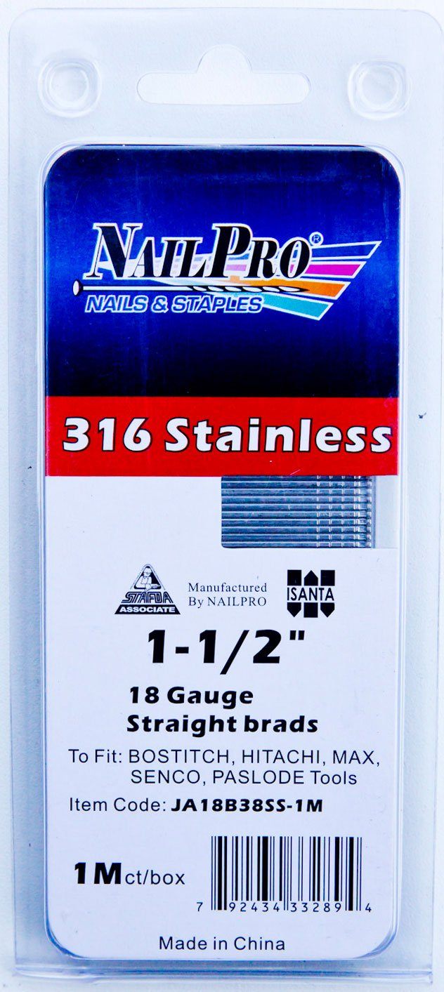 1-1/2'' x 18 Gauge Straight Brads - 1000 pc. - Type 316 Stainless Steel (Salt Water Safe)