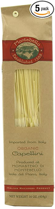Montebello Organic Capellini, 16 Ounce, 5 Count