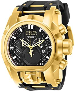Invicta Mens Reserve Stainless Steel Quartz Watch with Silicone Strap, Black, 34 (Model