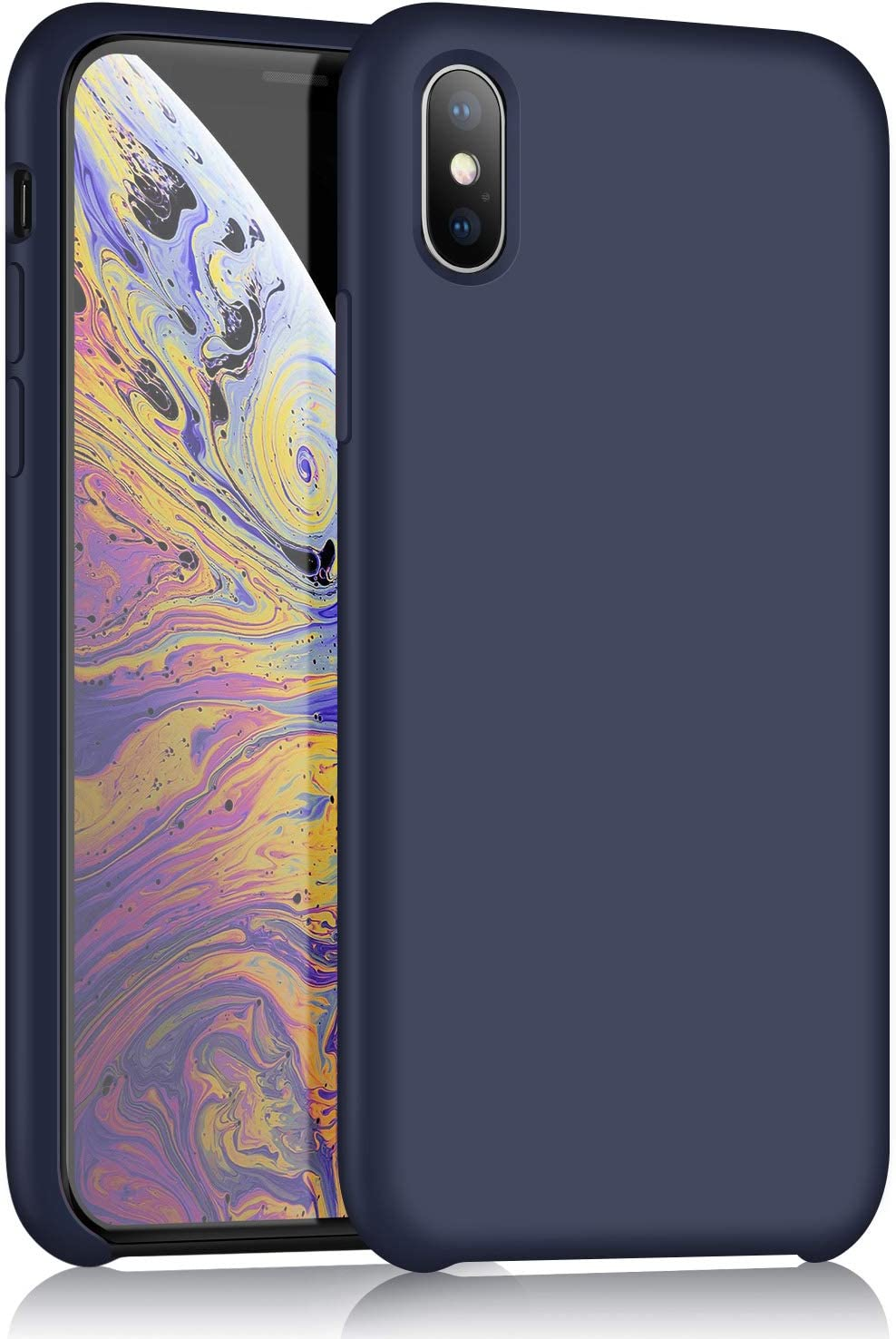 iPhone X Silicone Case, XSHNUO Liquid Silicone Gel Rubber Ultra Thin Case with Soft Microfiber Cloth Lining Cushion for iPhone X (2017) 5.8 inch (Midnight Blue)