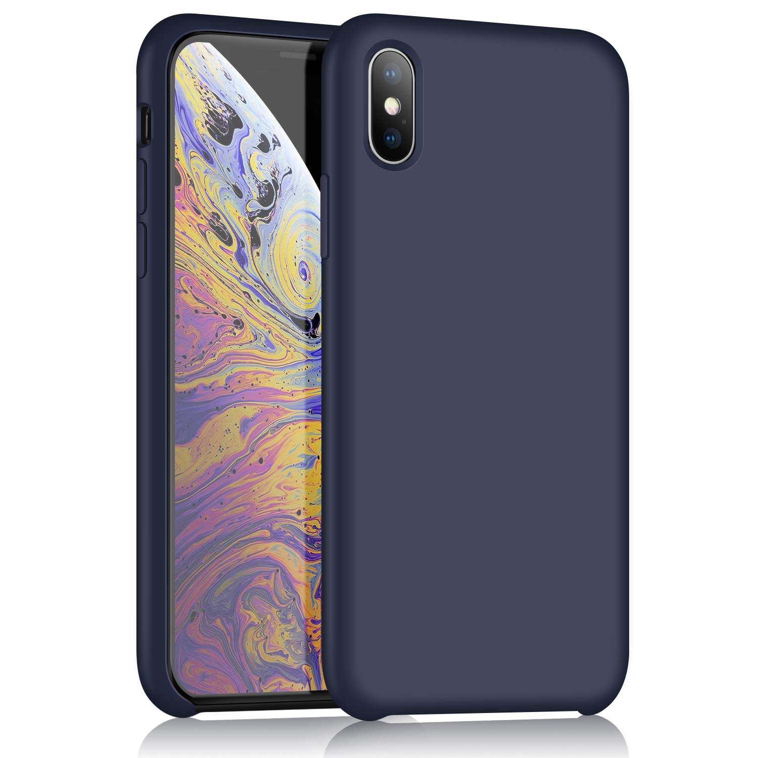 buy online aca6d 2a97a XSHNUO iPhone X Silicone Case, Slim Liquid Silicone Gel Rubber Ultra Thin  Case Soft Microfiber Cloth Lining Cushion for Apple iPhone X (2017) 5.8  inch ...