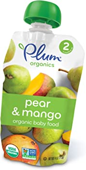 12 Pack Plum Organics Pear and Mango 4 Ounce Baby Second Blends