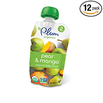 Plum Organics Baby Second Blends, Pear and Mango, 4 Ounce Pouches (Pack of 12)