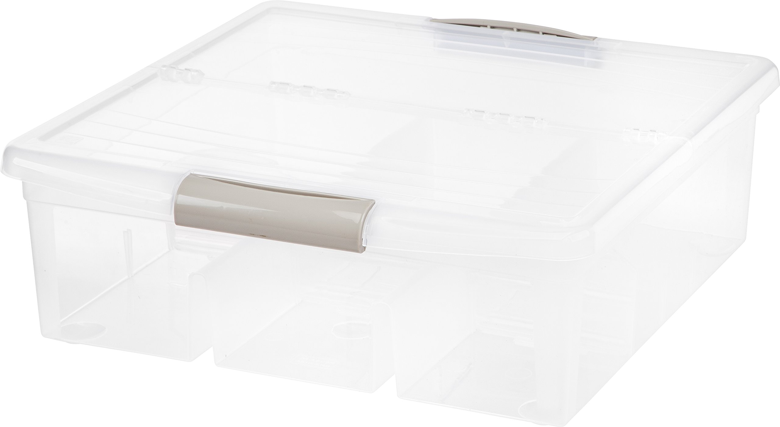 IRIS Large Divided Media Storage Box, Clear by IRIS USA, Inc.