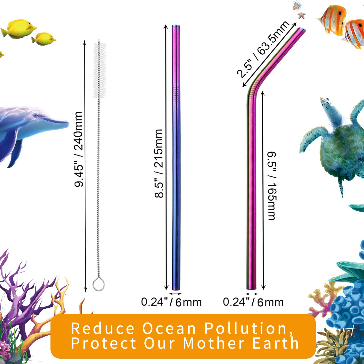 VEHHE Metal Straws Stainless Steel Straws 8 Set Reusable Drinking Rainbow Straws with Cleaning Brush for 20 OZ Tumblers(4 Straight + 4 Bent + 2 Brush) by VEHHE (Image #2)