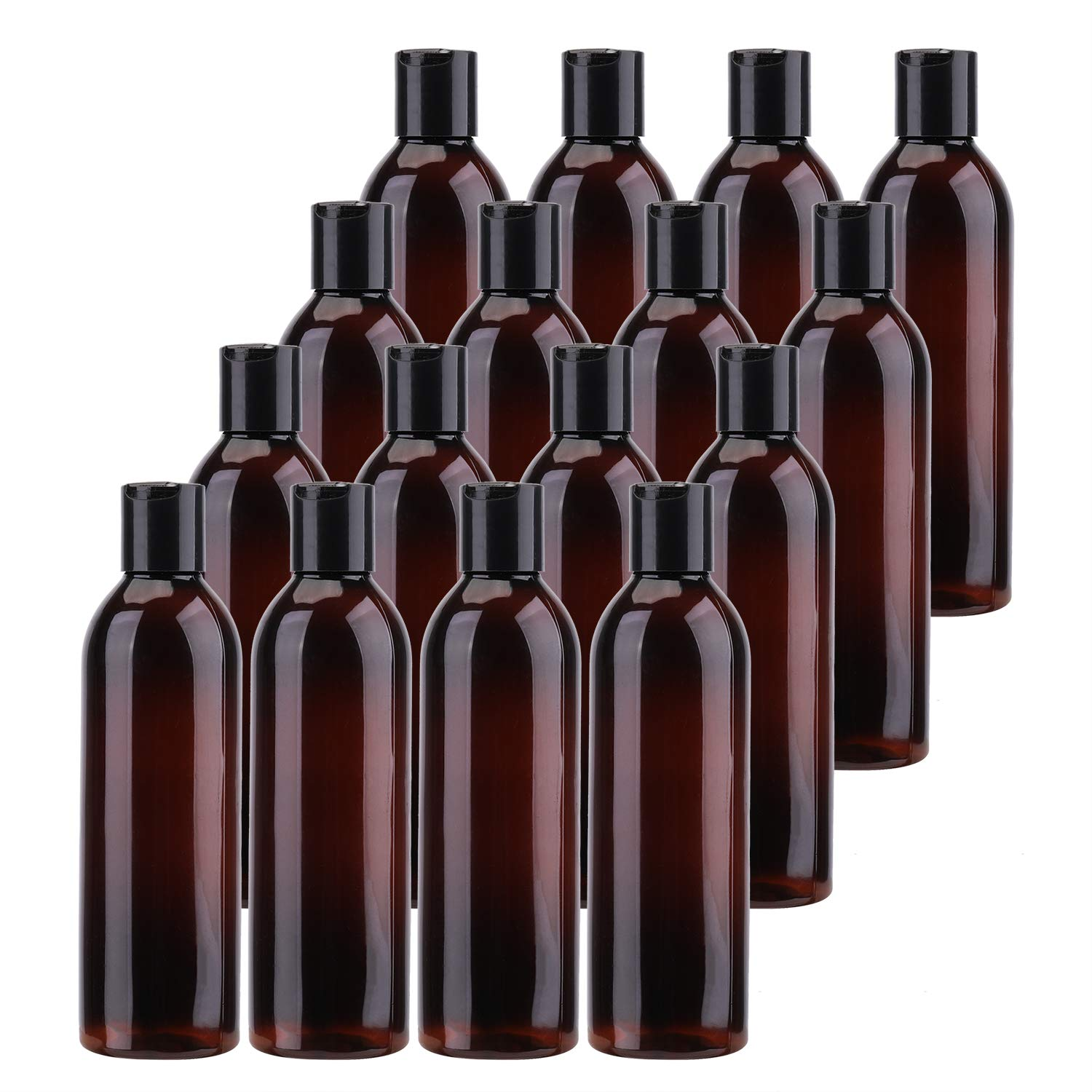 Bekith 16 Pack 8 ounce Amber Empty Plastic Bottles with Disc Top Flip Cap; BPA-Free Refillable Containers For Shampoo, Lotions, Liquid Body Soap, Creams