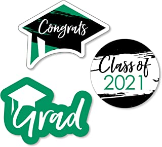 product image for Green Grad - Best is Yet to Come - DIY Shaped Green 2021 Graduation Party Cut-Outs - 24 Count
