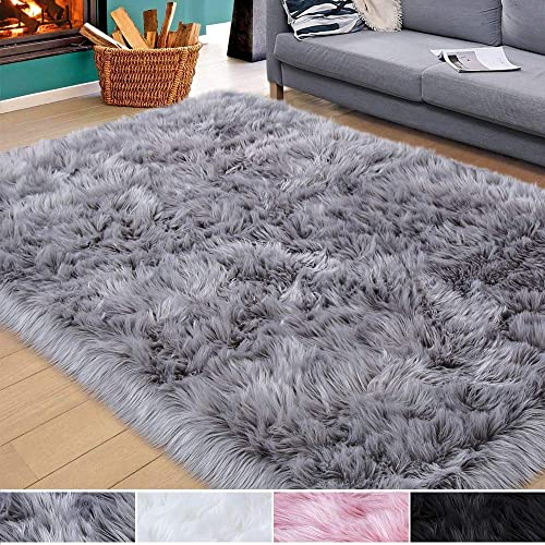 Homore Soft Fluffy Faux Fur Area Rug for Bedroom Living Room, Extra Comfy and Fuzzy Rugs, Washable Plush Carpet for Bed Home Decor, 4×6 Feet Gray