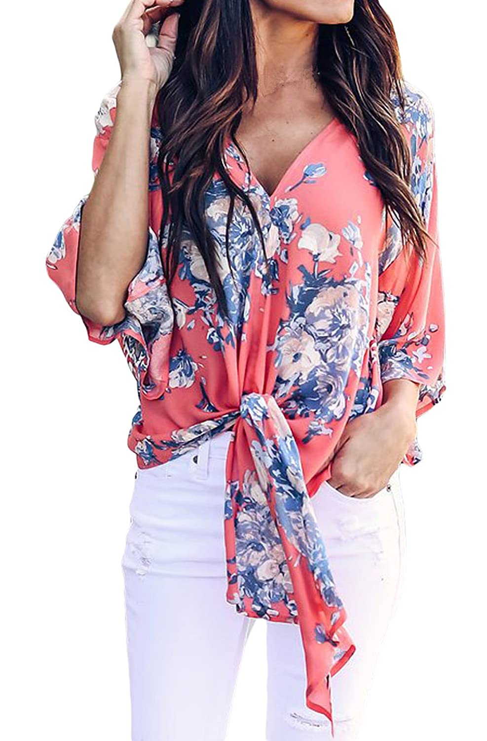43b6a72a024361 Summer Floral Tie Front Chiffon Blouse For Women Sexy V Neck Short Sleeve  Shirt Casual Loose Fit Tops STYLE DESIGN  Women floral tie front blouse  features ...