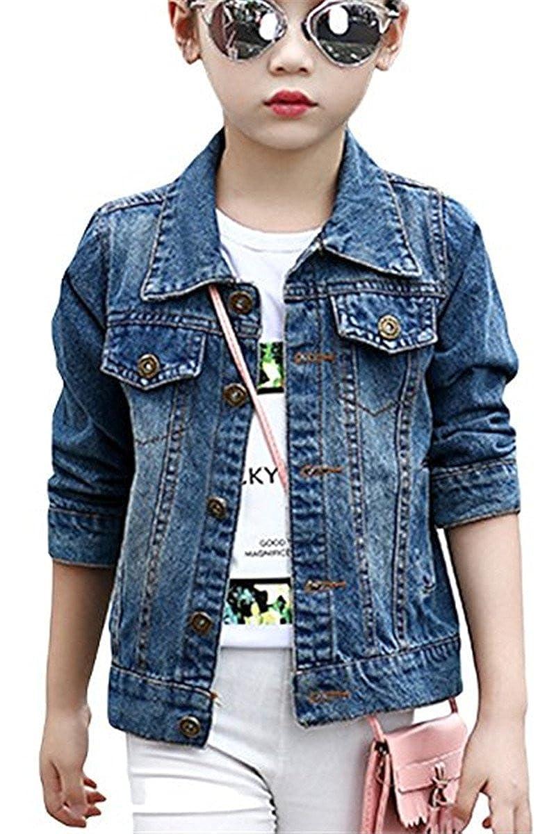 JELEUON Little Big Girls Kids Classic Pocket Button Down Denim Jacket Coat Outwear