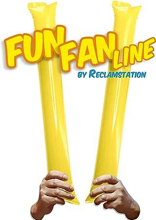 FUN FAN LINE - Pack 10 Pares de Aplaudidores hinchables de plástico. Accesorios ruidosos para Fiestas y animación Deportiva. Palos de Estadio Reutilizables. (Amarillo, 10): Amazon.es: Hogar