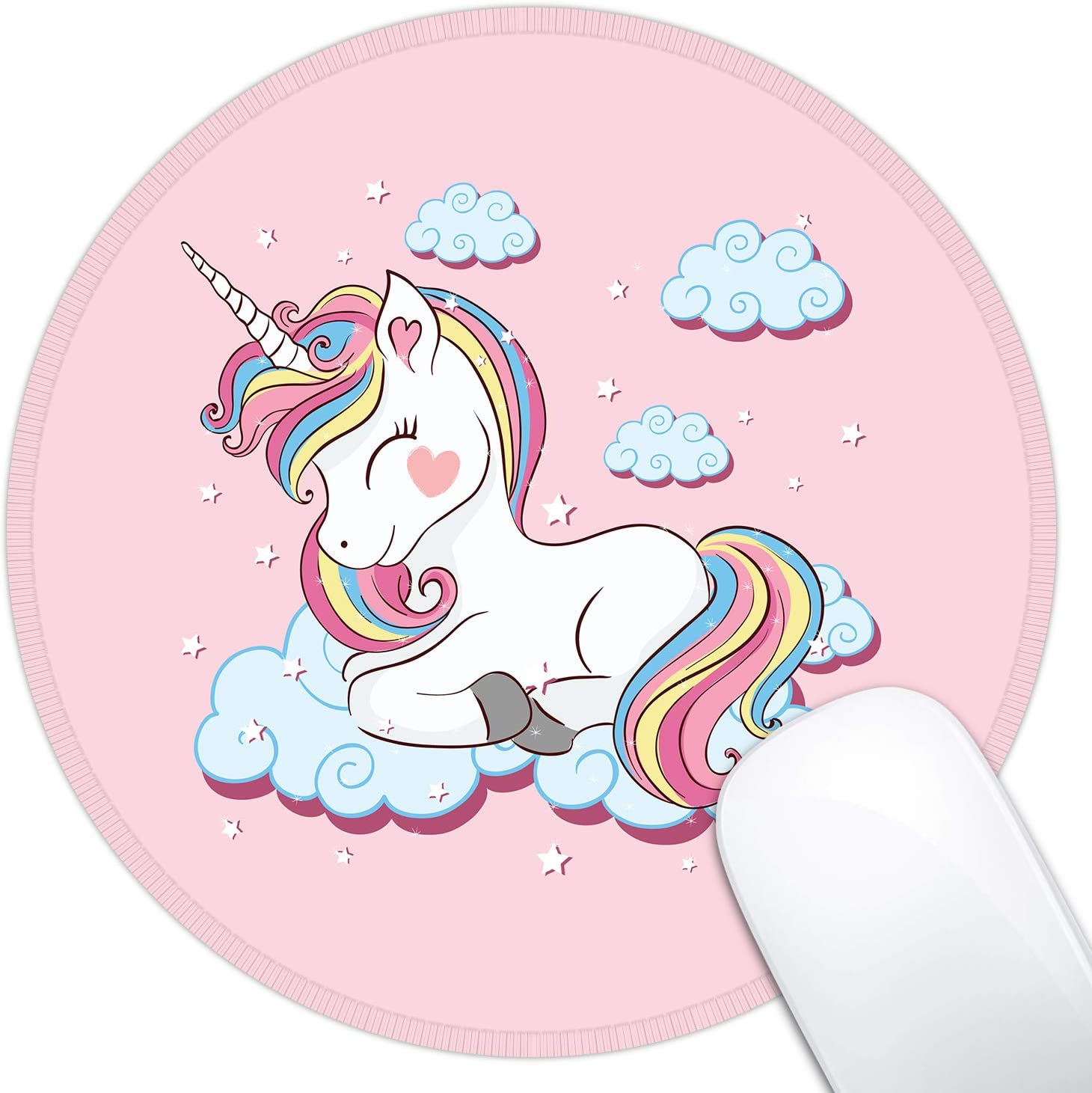Dynippy Mouse Pad Gaming Mouse Pads Non-Slip Rubber Base Mousepad with Stitched Edge Round Mouse Mat for Desktops Computer Laptops ( Pink Unicorn )