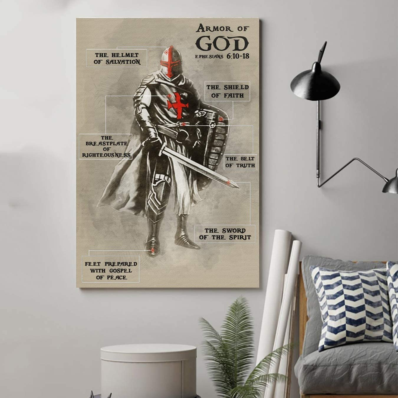 Knight Templar Poster - Armor of God-Command Strips Wall Decor - Poster for Room Aesthetic - Pictures Wall Vintage (Vintage Antique, Large 24x36)